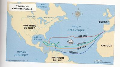carte de christophe colomb Les voyages de Christophe Colomb   Écoles Publiques RPI Broualan